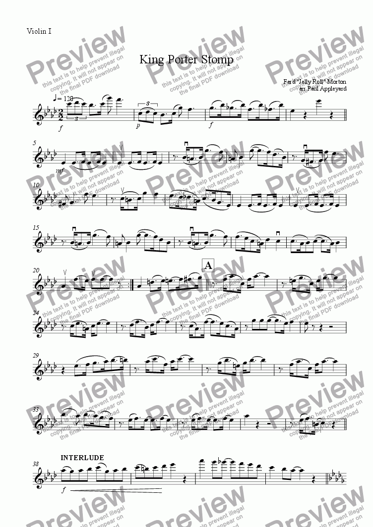 page one of the Violin I part from King Porter Stomp