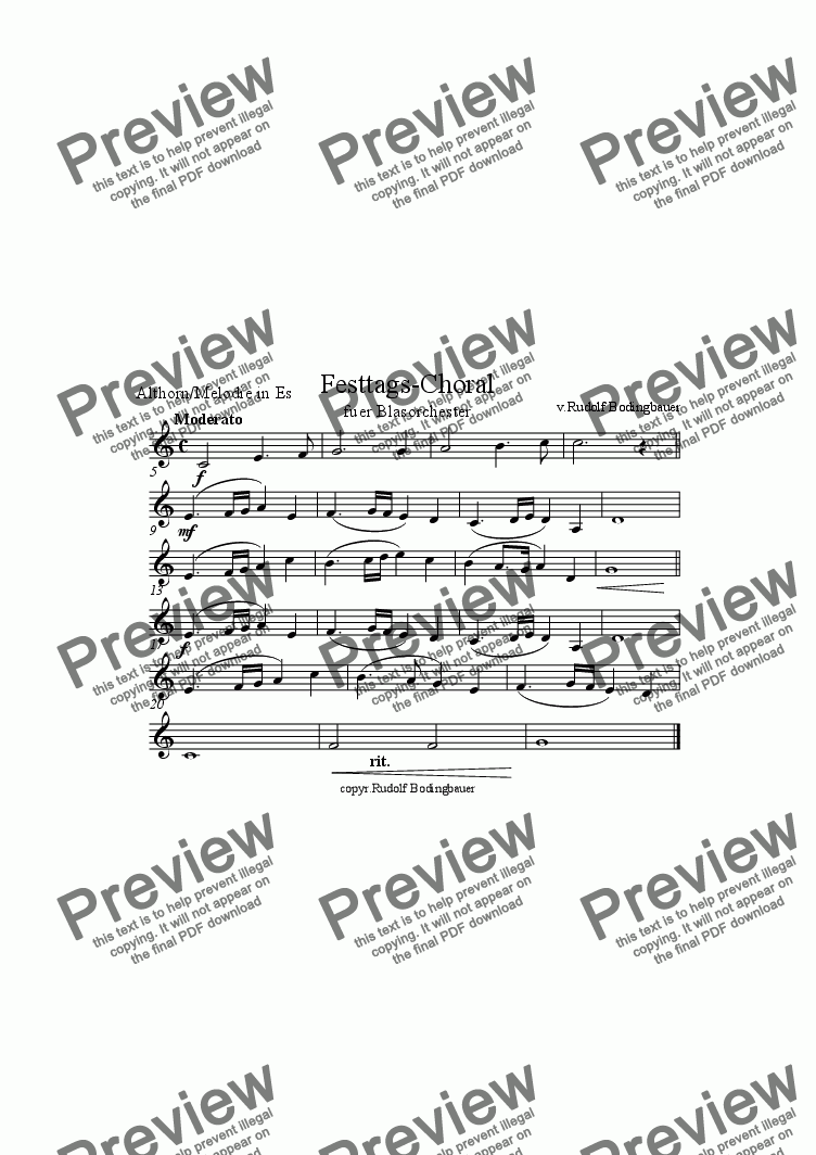 page one of the Althorn/Melodie in Es part from Festtags-Choral f�r Blasorchester