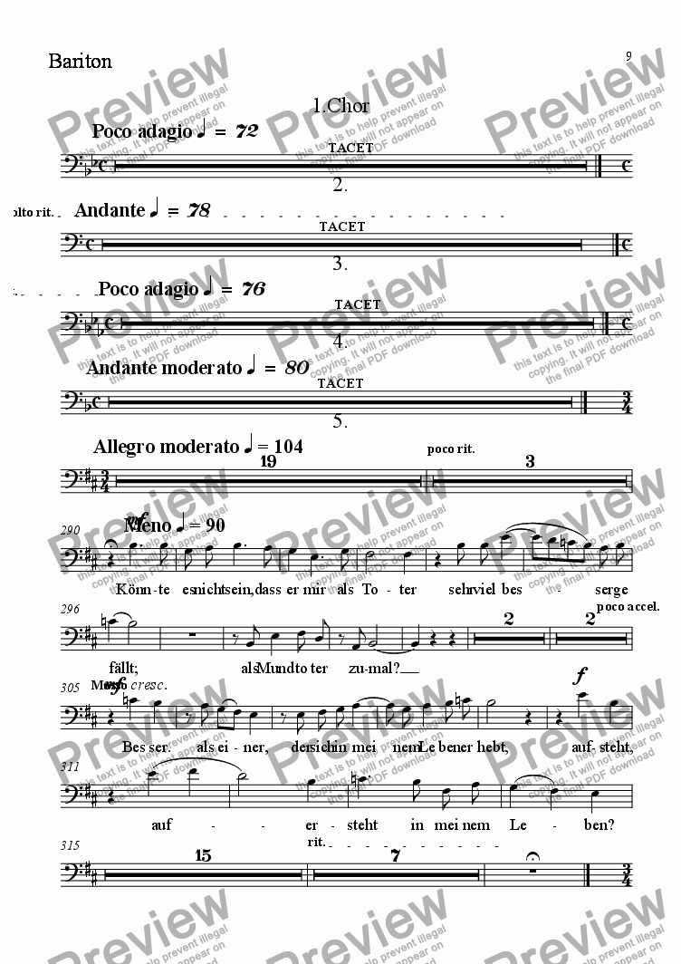 page one of the Solo Bariton part from Et resurrexit