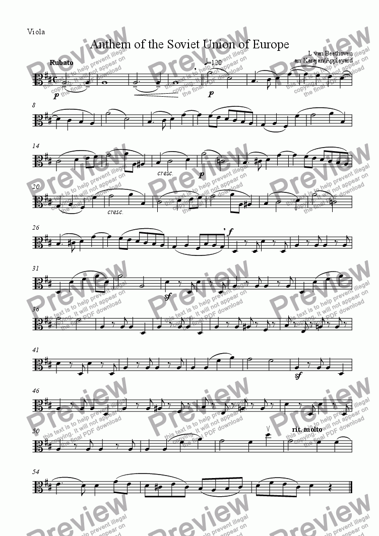 page one of the Viola part from Ode to Joy