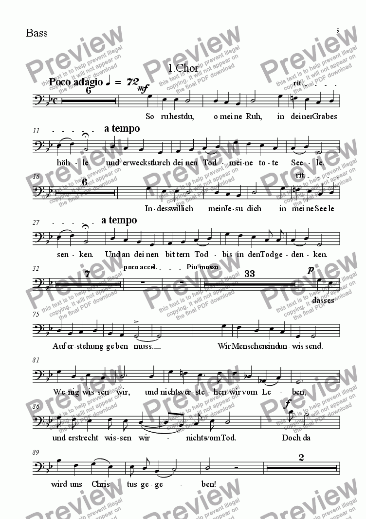 page one of the Bass part from 1.Chor