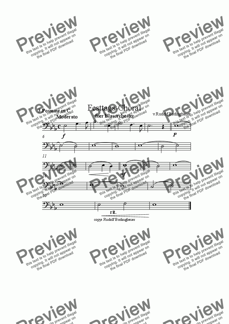 page one of the 3.Posaune inC part from Festtags-Choral f�r Blasorchester