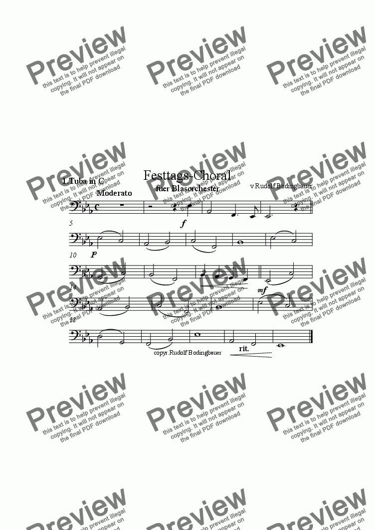 page one of the 1.Tuba in C part from Festtags-Choral f�r Blasorchester