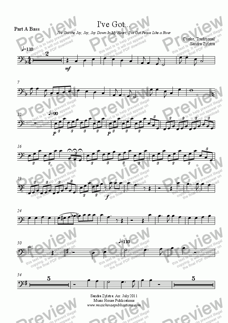 page one of the Part A Bass part from Instant Ensemble: I've Got...