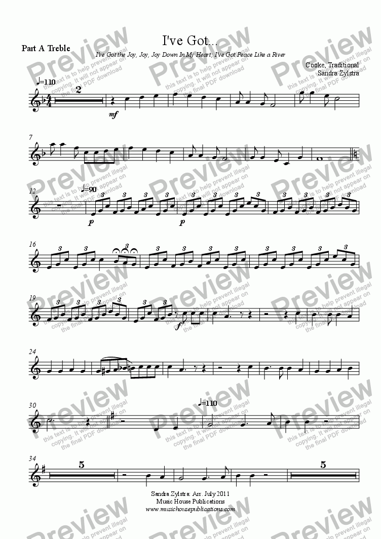 page one of the Part A Treble part from Instant Ensemble: I've Got...