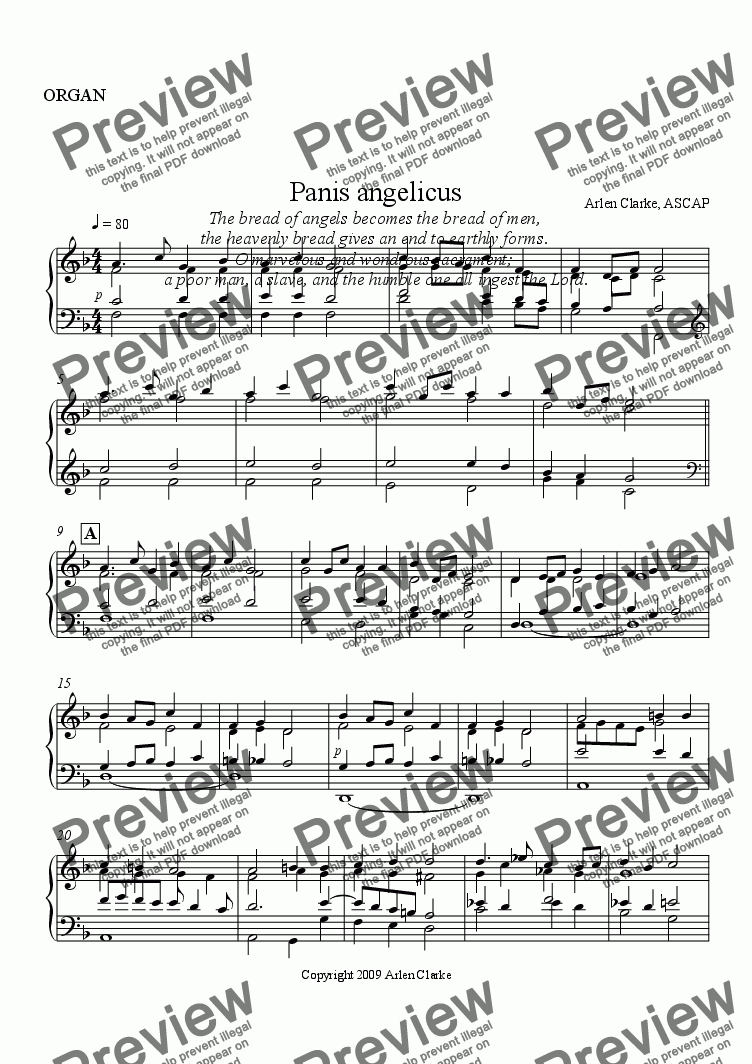 page one of the ORGAN part from Panis angelicus