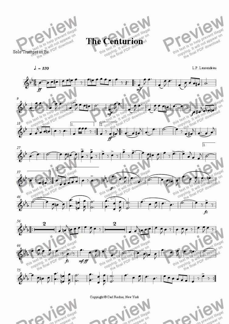 page one of the Solo Trumpet in B^b part from The Centurion
