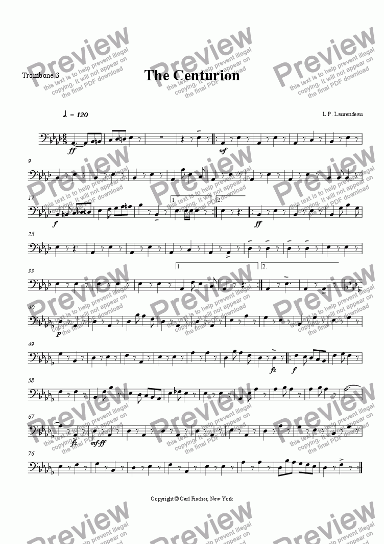 page one of the Trombone 3 part from The Centurion