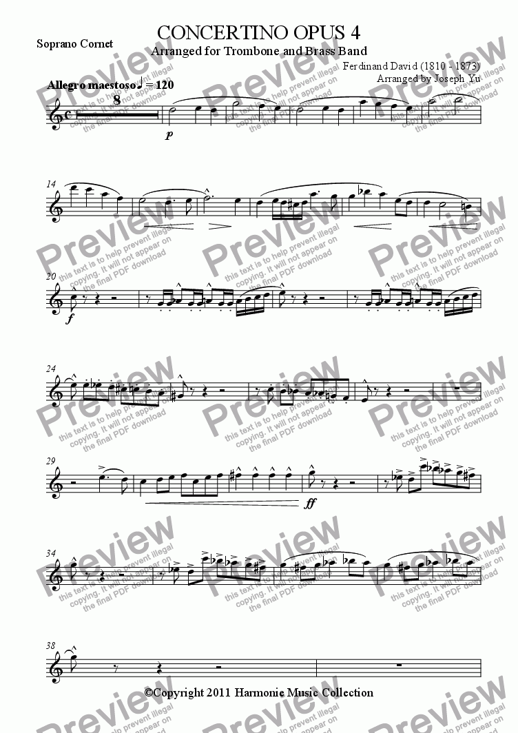 page one of the Soprano Cornet part from CONCERTINO OPUS 4