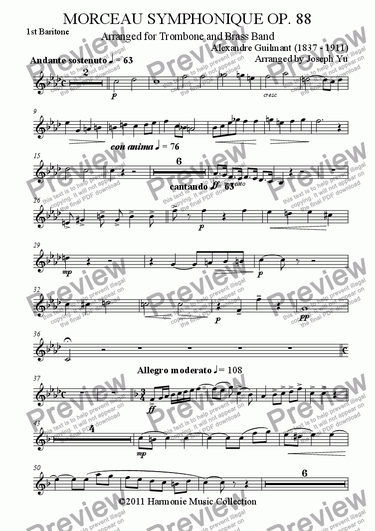 page one of the 1st Baritone part from MORCEAU SYMPHONIQUE OP. 88