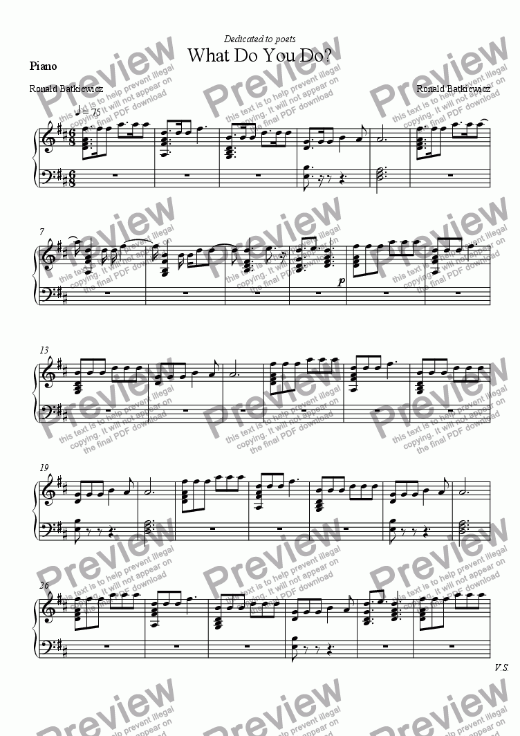 page one of the Piano part from What Do You Do?