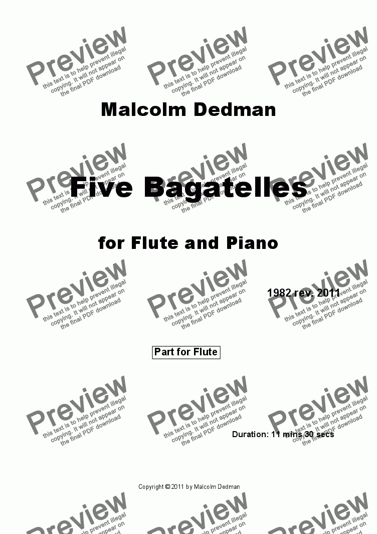 page one of the Flute part from Five Bagatelles