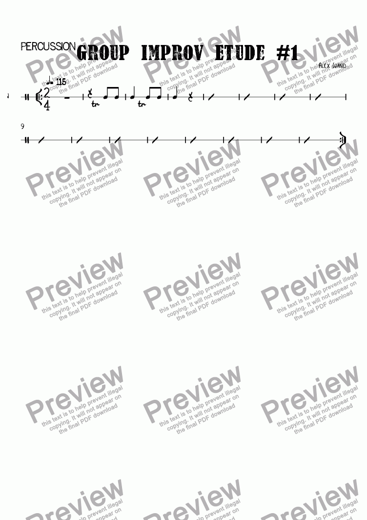 page one of the Percussion part from Group Improv Etude #1