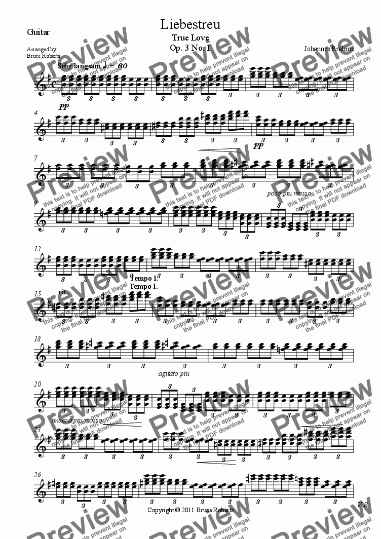 page one of the Guitar part from BRAHMS: Liebestreu Op. 3 No. 1 (Violin (melody), Cello  & Guitar)