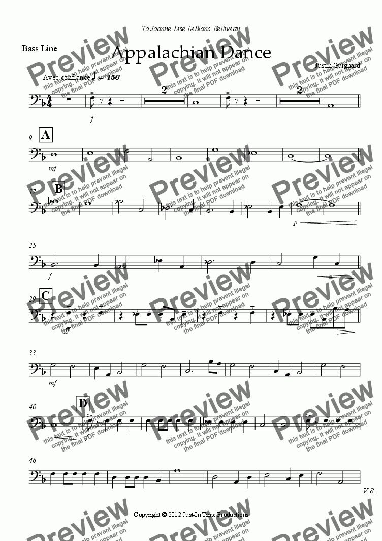 page one of the Bass Line part from Appalachian Dance