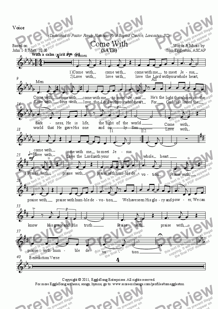 page one of the Voice part from Come With, SATB