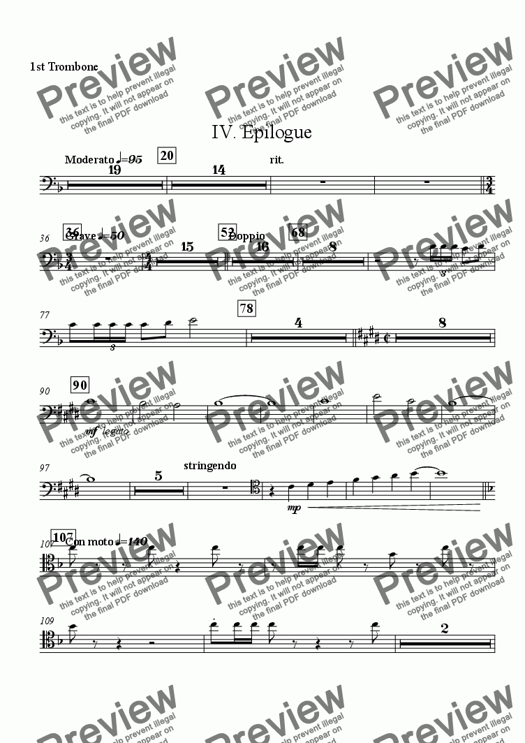 "page one of the 1st Trombone part from Symphony No. 1 ""The Cross"" - IV. ""Epilogue"""
