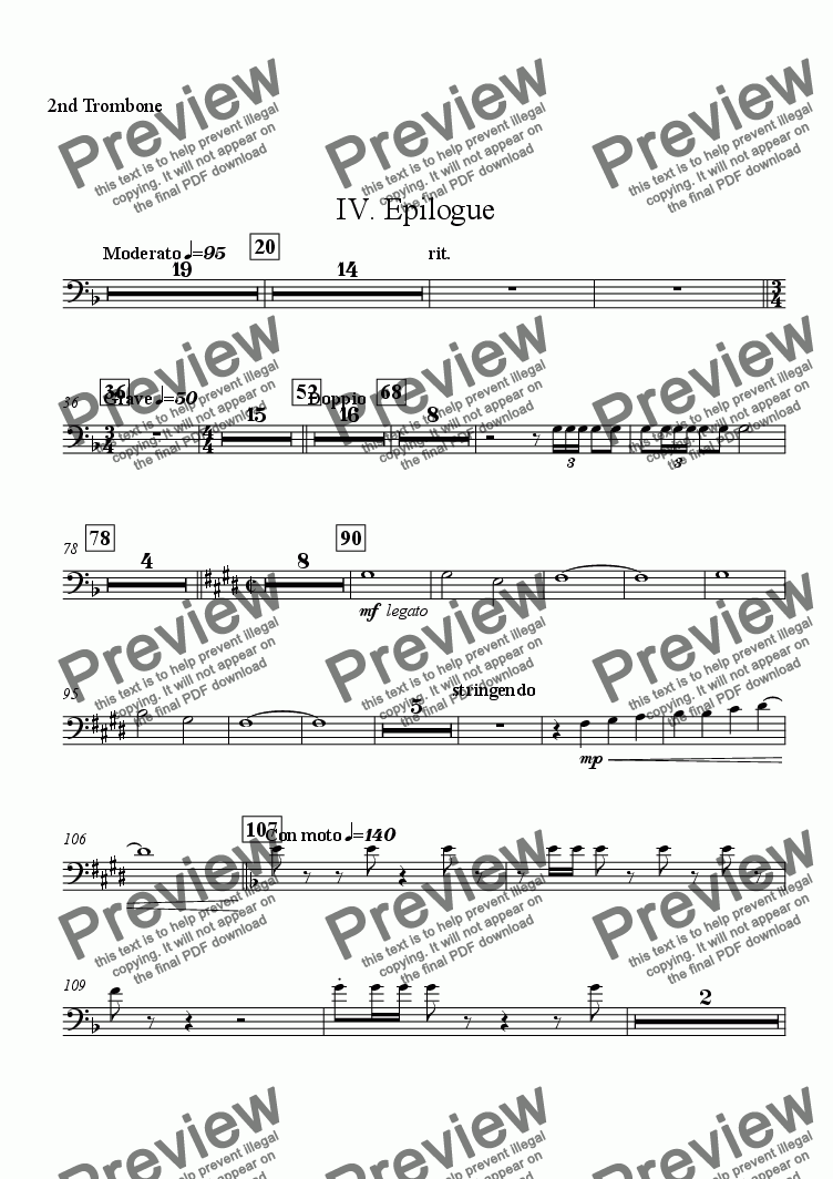 "page one of the 2nd Trombone part from Symphony No. 1 ""The Cross"" - IV. ""Epilogue"""