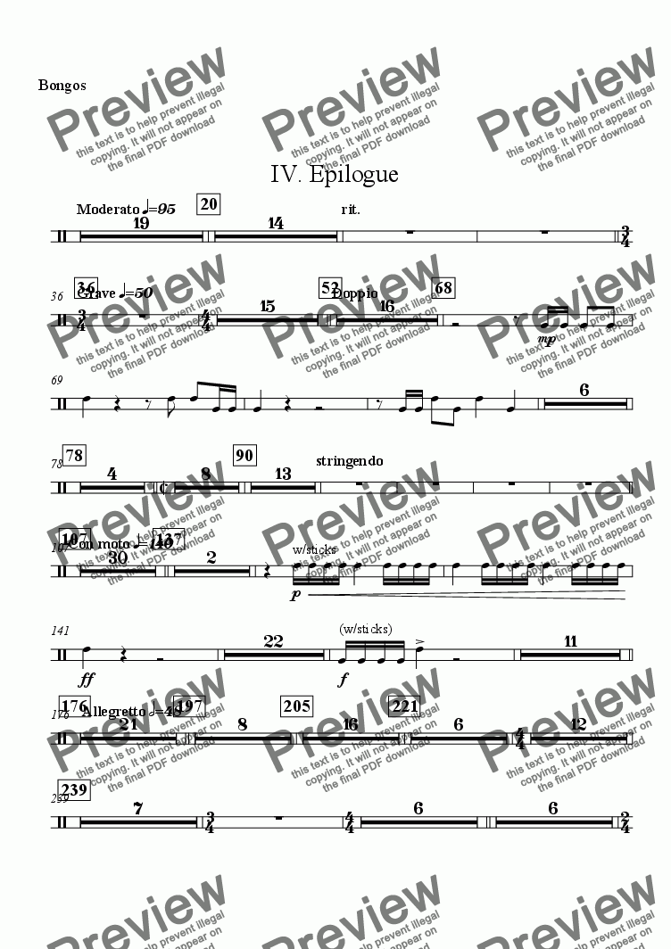 "page one of the Bongos part from Symphony No. 1 ""The Cross"" - IV. ""Epilogue"""