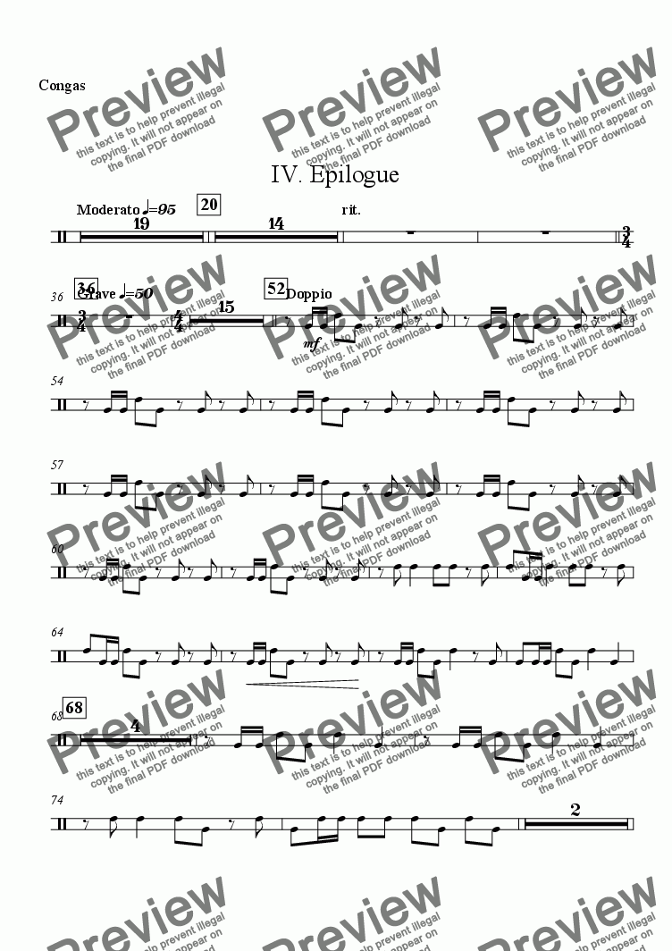 "page one of the Congas part from Symphony No. 1 ""The Cross"" - IV. ""Epilogue"""