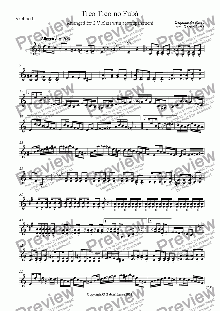 page one of the Violino II part from Tico Tico no Fubá (2 vlns with chords)