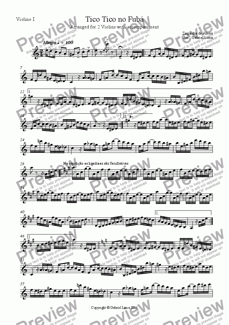 page one of the Violino I part from Tico Tico no Fubá (2 vlns with chords)