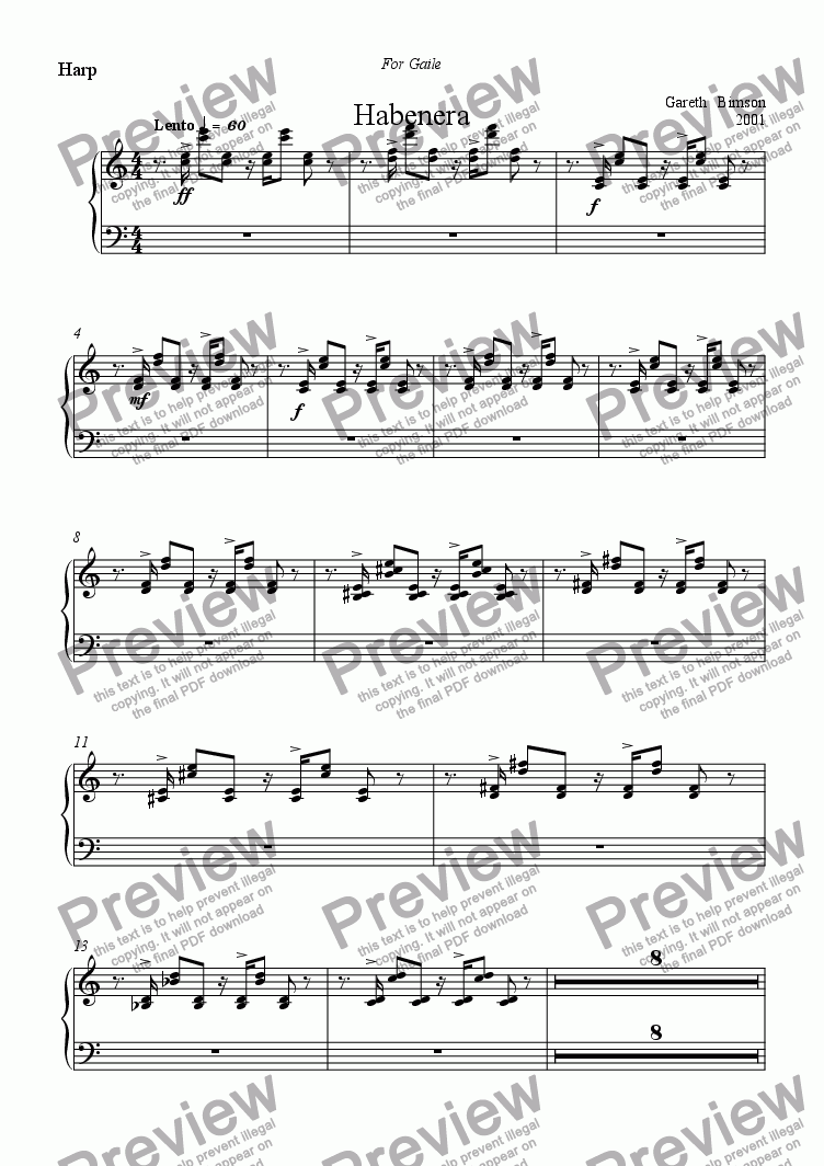 page one of the Harp part from Habenera for Flute Harp & Strings