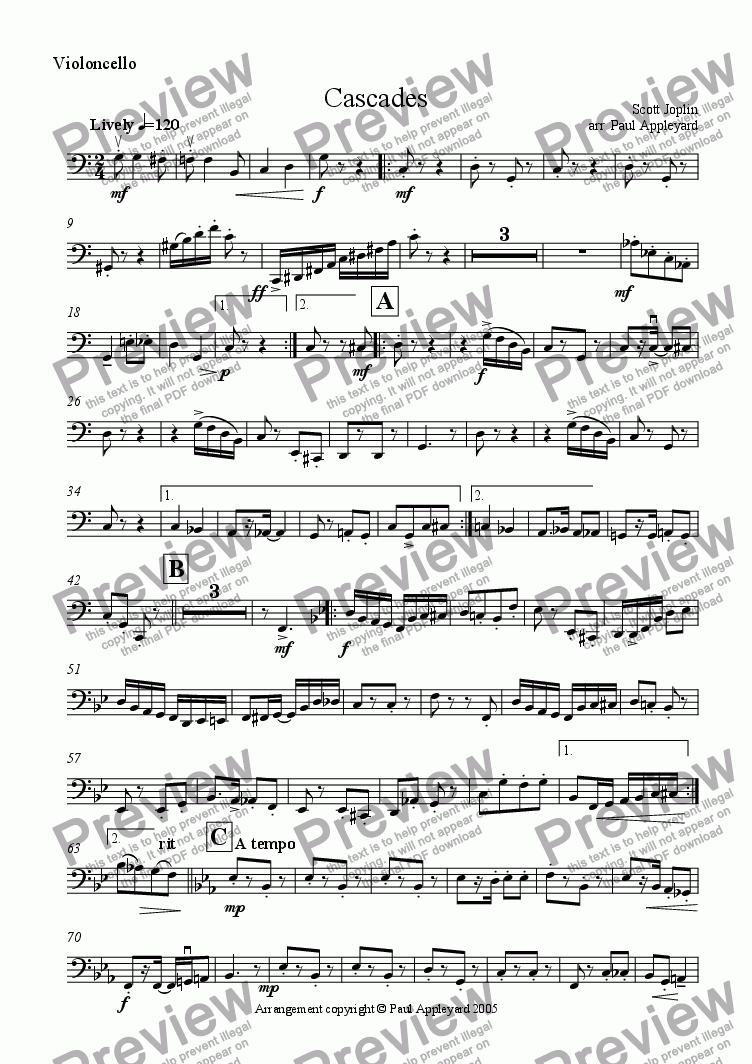 page one of the Violoncello part from Cascades