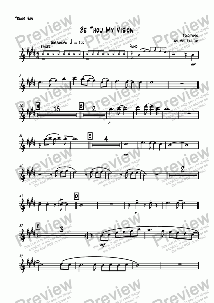 page one of the Tenor Sax part from Be Thou My Vision