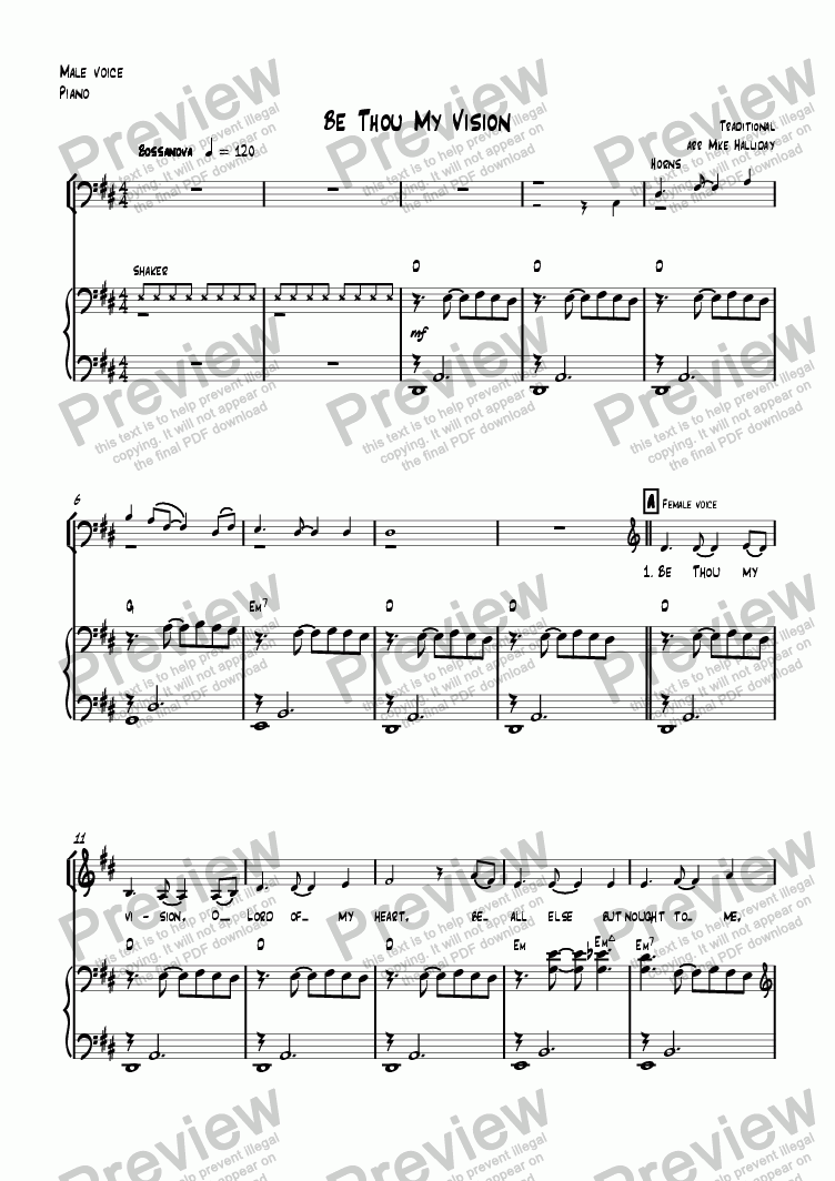 page one of the Piano with bass singer part from Be Thou My Vision
