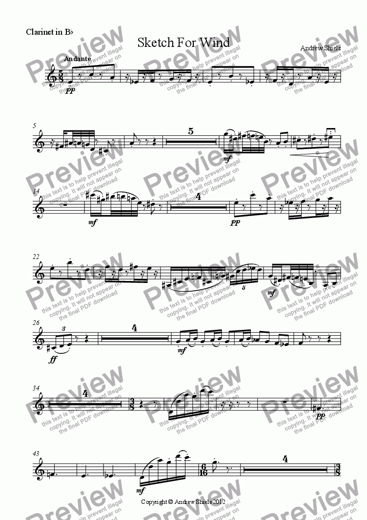 page one of the Clarinet in B^b part from Sketch For Wind