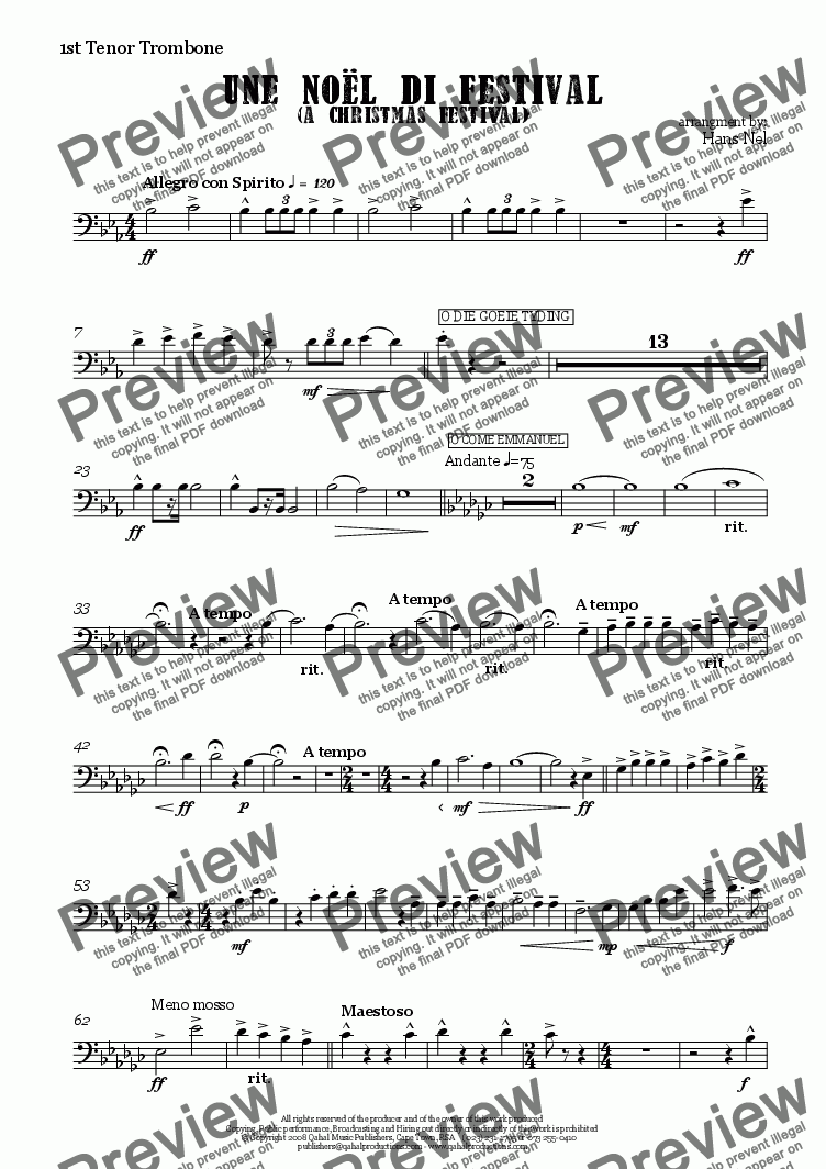 page one of the 1st Tenor Trombone part from Une Noël di Festival (a Christmas Festival)