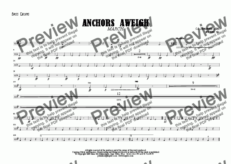 page one of the Bass Drums part from ANCHORS AWEIGH