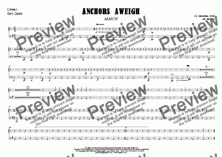 page one of the Cymbals, Bass Drums part from ANCHORS AWEIGH