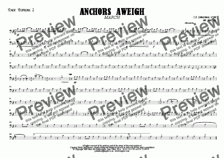 page one of the Tenor Trombone 2 part from ANCHORS AWEIGH