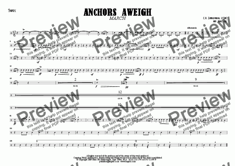 page one of the Snare part from ANCHORS AWEIGH