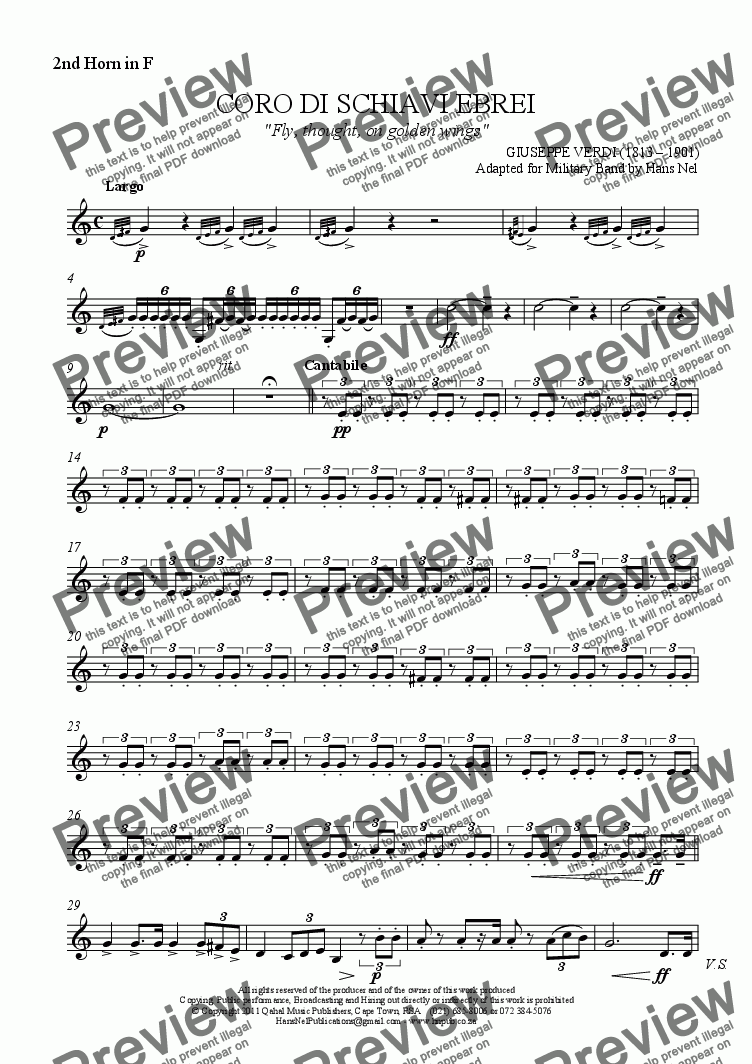 page one of the 2nd Horn in F part from CORO DI SCHIAVI EBREI - Va Pensiero