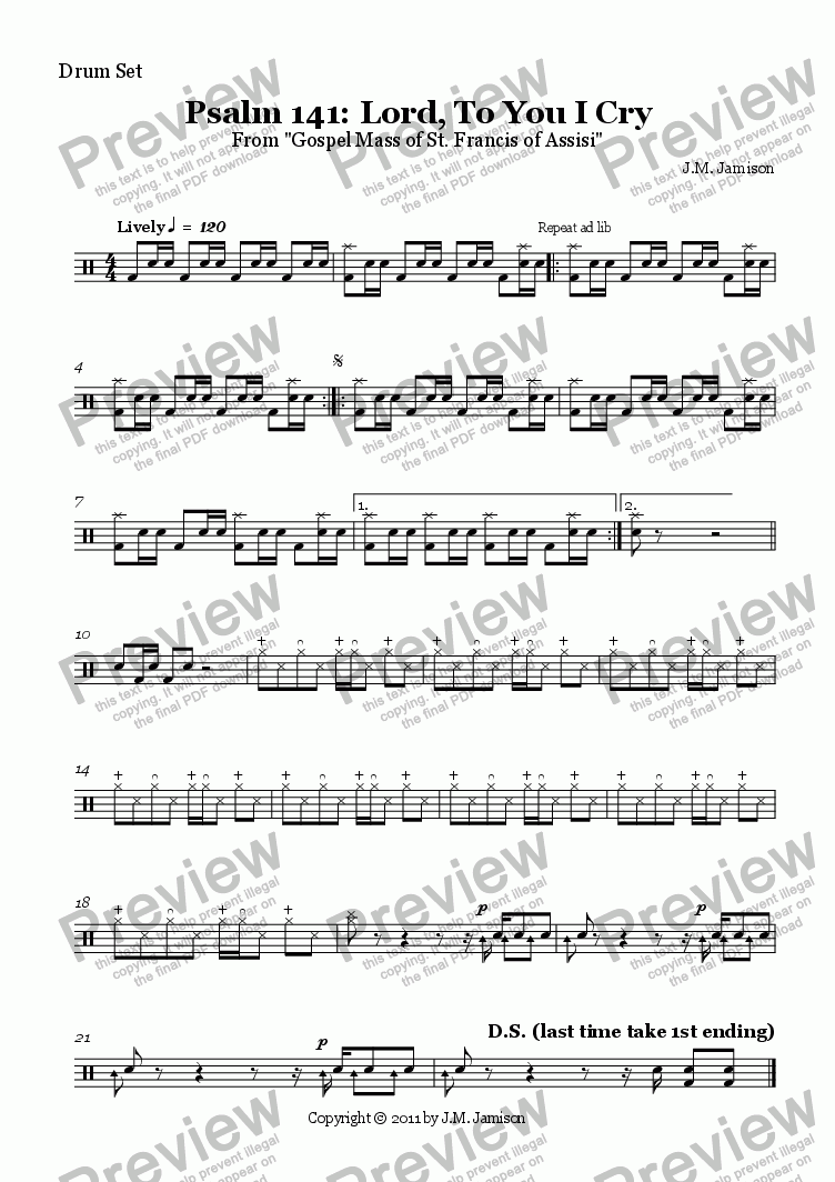 page one of the Drum Set part from Psalm 141: Lord, To You I Cry (Gospel Mass)
