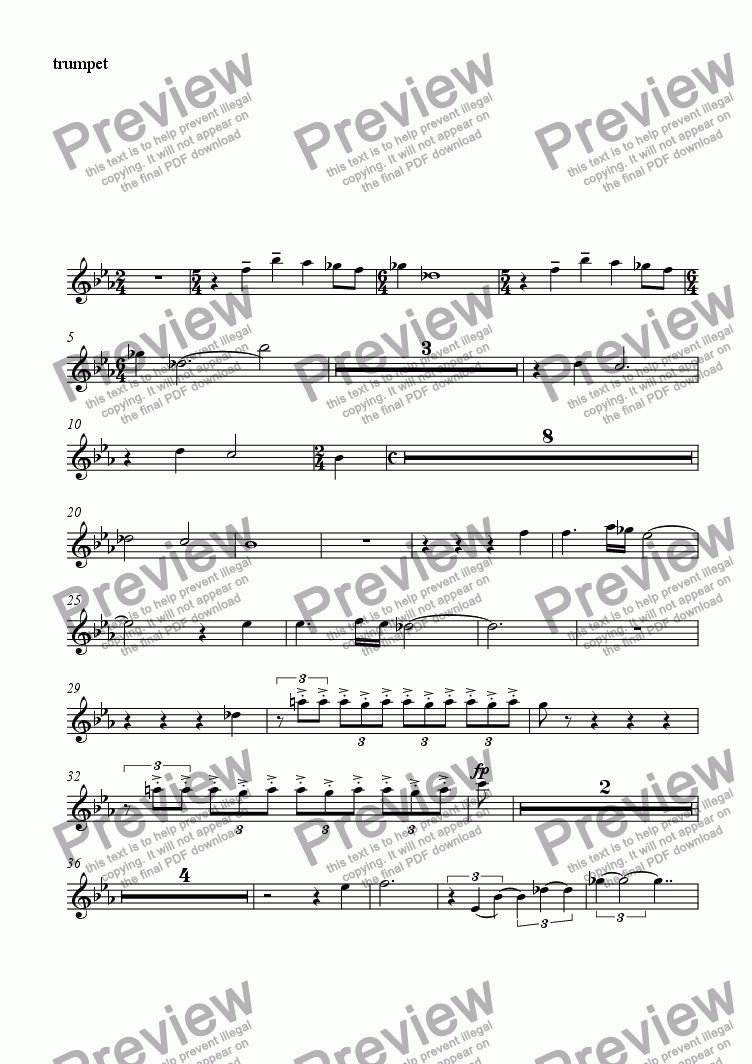 page one of the trumpet part from untitled
