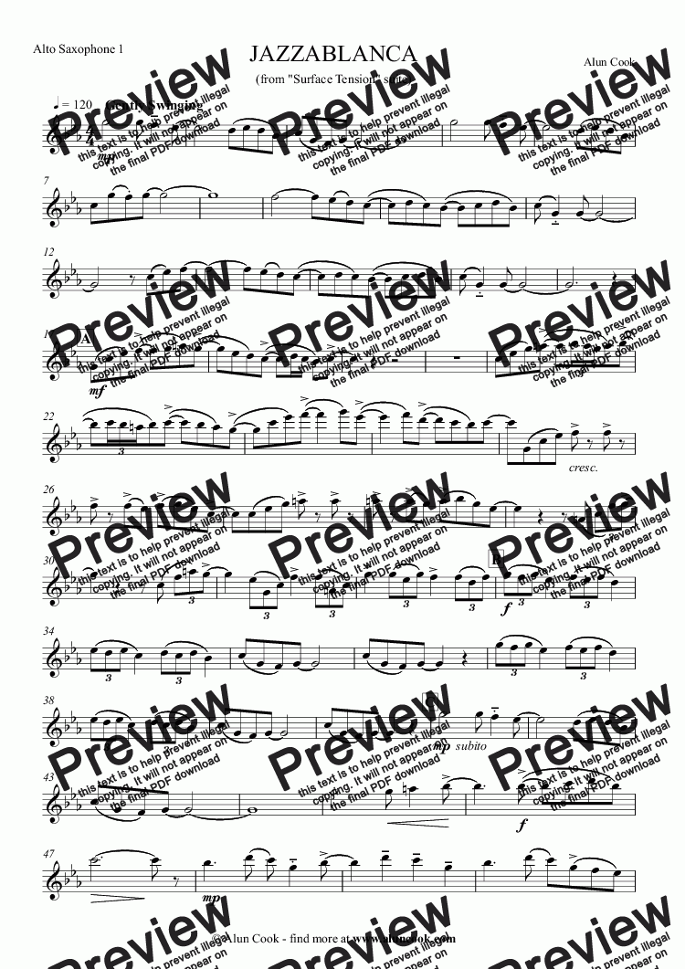 page one of the Alto Saxophone 1 part from Jazzablanca (Saxophone Quartet)