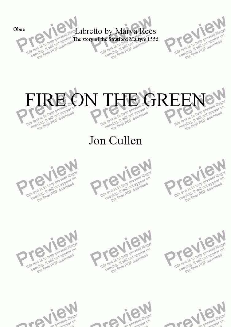 page one of the Oboe part from Fire on the Green
