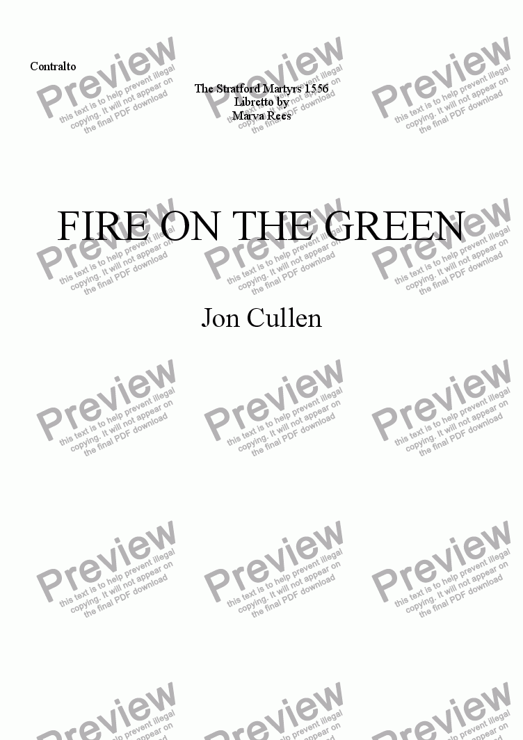 page one of the Contralto part from FIRE ON THE GREEN