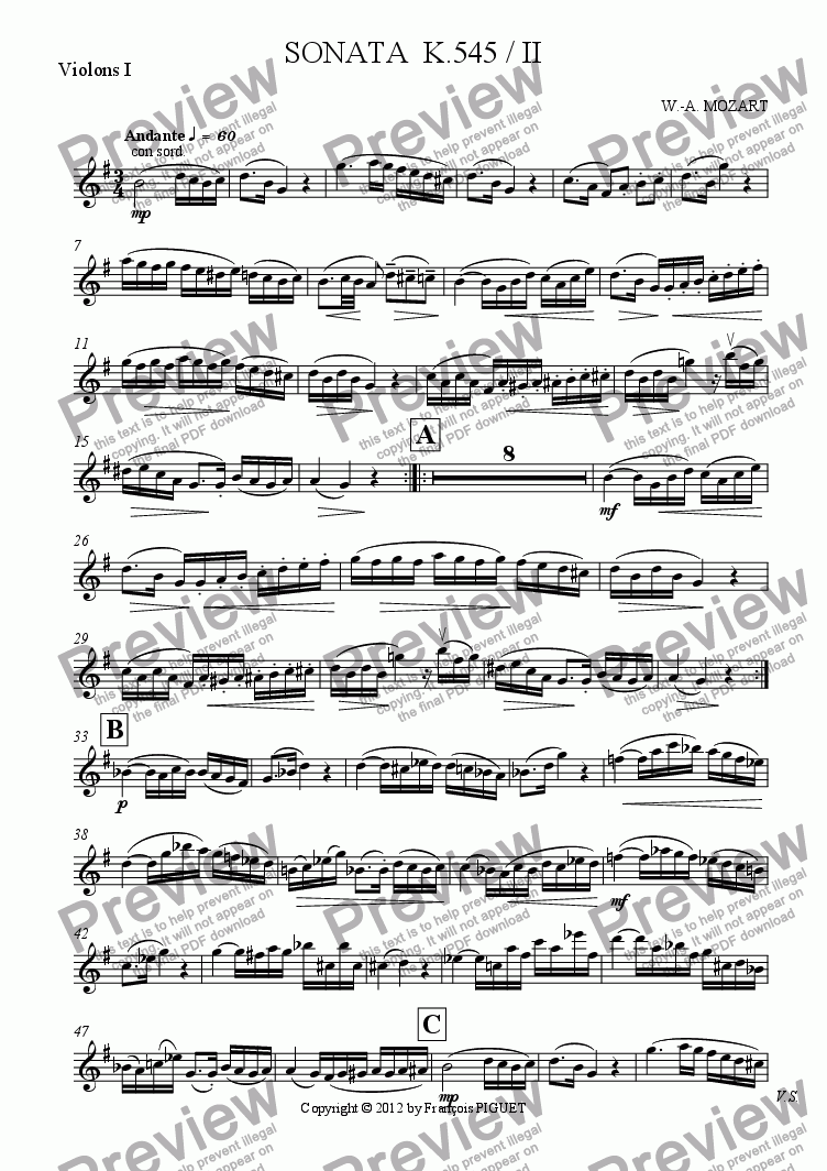 page one of the Violons I part from SONATA  K.545 / II