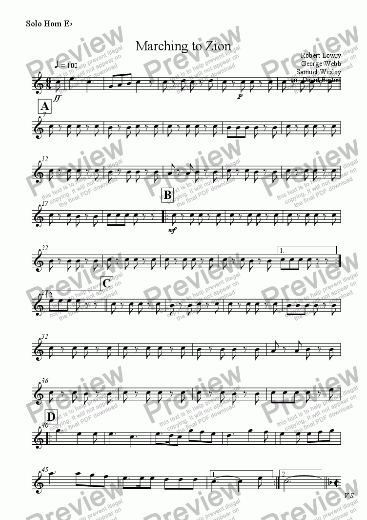 page one of the Solo Horn E^b part from Marching to Zion (Brass Band version)