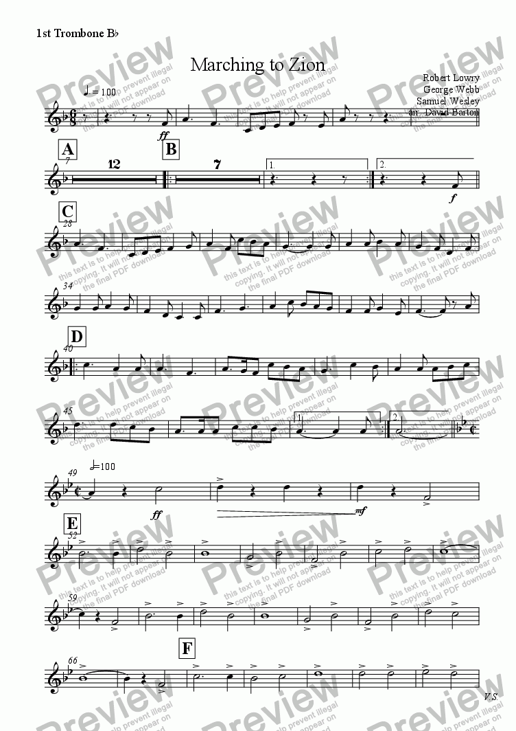 page one of the 1st Trombone B^b part from Marching to Zion (Brass Band version)