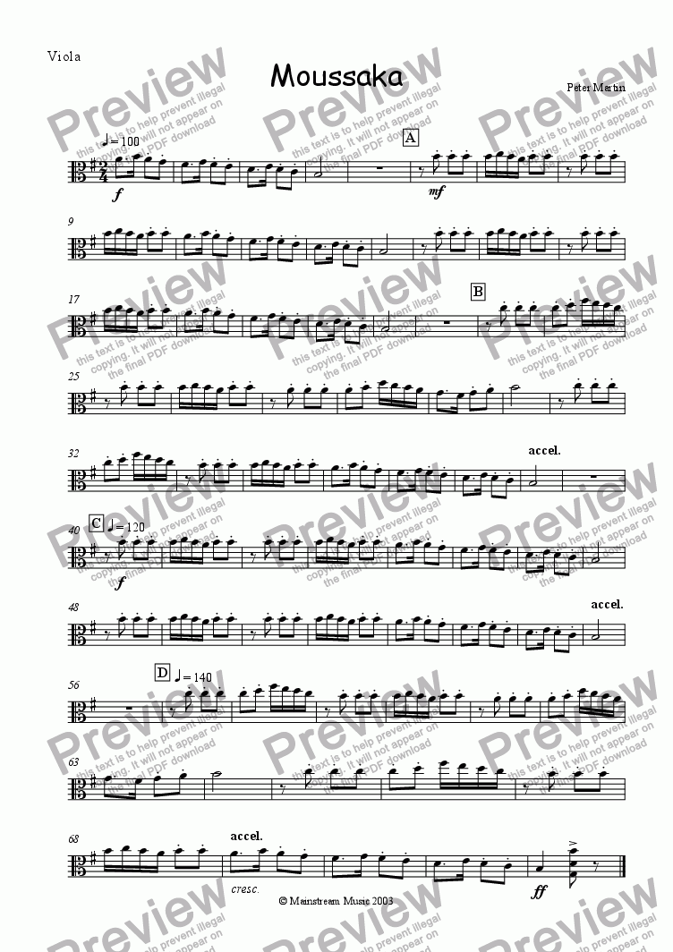 page one of the Viola part from Moussaka