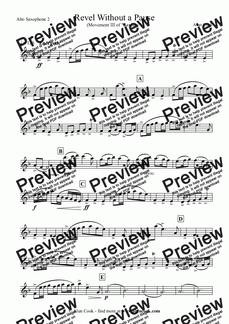 page one of the Alto Saxophone 2 part from Revel Without a Pause (Saxophone Quartet)