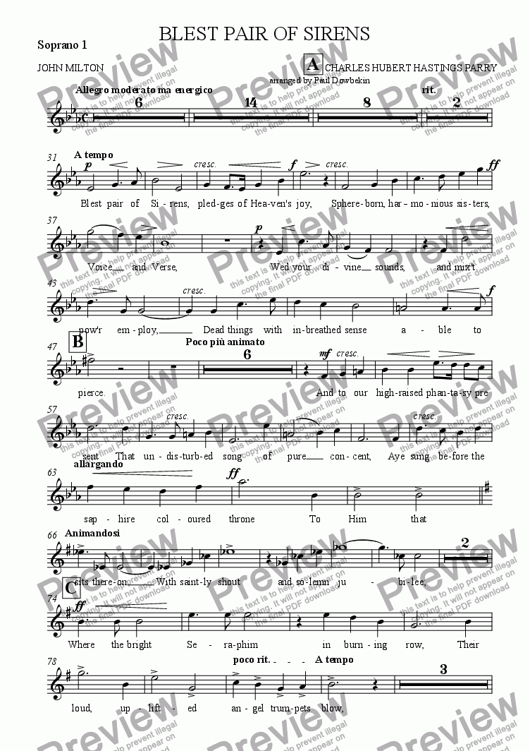 page one of the Soprano 1 part from BLEST PAIR OF SIRENS