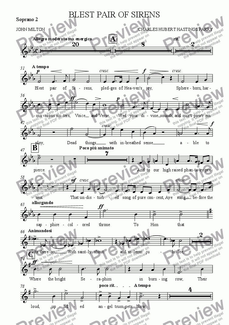 page one of the Soprano 2 part from BLEST PAIR OF SIRENS