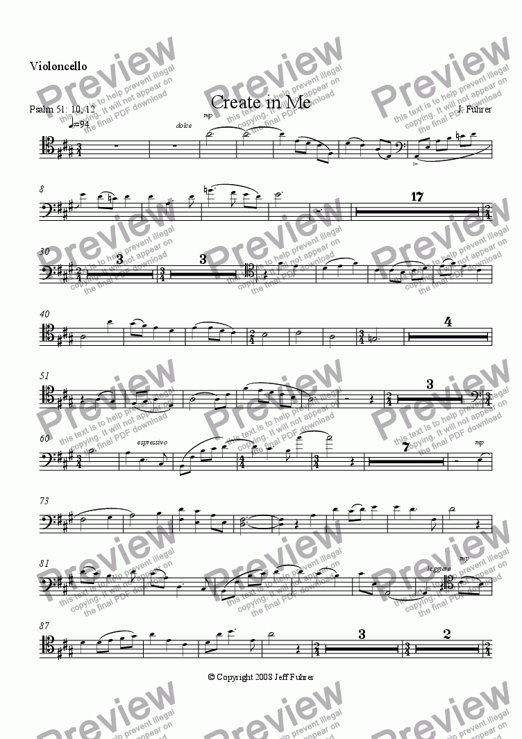 page one of the Violoncello part from Create in Me